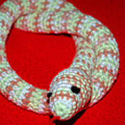 Crochet Snake In Red Art Print