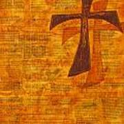 Cross Purple With Yellow Art Print