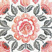Cross Stitch Roses Art Print