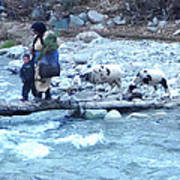 Crossing The Ourika River Art Print