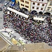 Crowd Forms At Clock Tower - Prague Art Print