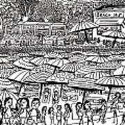 Crowded Beach Black And White Art Print