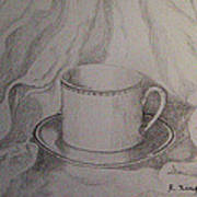 Cup And Saucer On Material Art Print