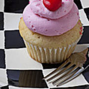 Cupcake With Heart On Checker Plate Art Print