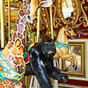 Curious Carousel Beasts Art Print