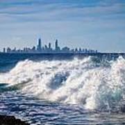 Currumbin Beach Waves On Rocks Art Print