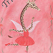 Custom Name Child's Giraffe Ballerina Art Print by Kristi L Randall