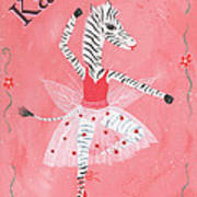 Custom Name Child's Zebra Ballerina Art Print by Kristi L Randall