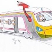 Cute Cartoon High Speed Train And Animals Art Print
