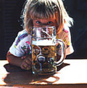 Cute Little Girl At Beer Garden Munich Art Print