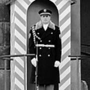 Czech Soldier On Guard At Prague Castle Art Print