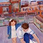 Dad And Me On Rooftop On Hoe Street Brooklyn Art Print