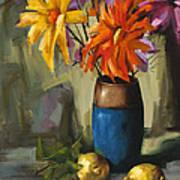 Daisies In Blue Vase Art Print by Pepe Romero