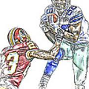 Dallas Cowboys Dez Bryant Washington Redskins Deangelo Hall Art Print by Jack K