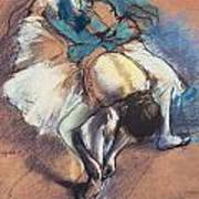 Dancer Fastening Her Pump Art Print by Edgar Degas