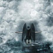 Dark Angel Kneeling On Stairway In The Clouds Art Print
