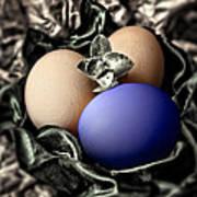 Dark Blue Easter Egg Art Print
