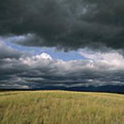 Dark Clouds Gather Over A Prairie Art Print