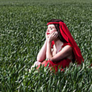 Day Dreams Woman In Red Series Art Print