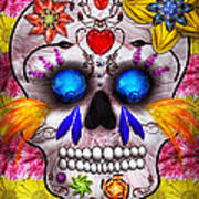 Day Of The Dead - Death Mask Art Print