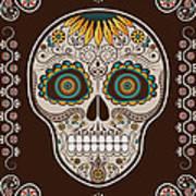 Day Of The Dead Sunflower Sugar Skull Poster By Maryska