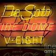 De Soto Fire Dome V Eight Neon Sign Art Print
