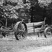 Decaying Wagon Black And White Art Print