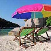 Deck Chairs On A Beach In Thailand Art Print