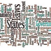 Declaration Of Independence Word Cloud Art Print