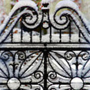 Decorative Iron Gate In Winter Art Print