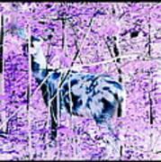 Deer In The Woods Inverted Negative Image Art Print