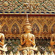 Demon Guardian Statues At Wat Phra Kaew Print by Panyanon Hankhampa