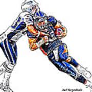 Denver Broncos Tim Tebow - New England Patriots Andre Carter Art Print by Jack K
