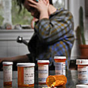 Depression And Addiction Art Print by Photo Researchers, Inc.