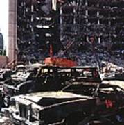 Destroyed Automobiles Near The Bombed Art Print by Everett