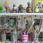 Detail Of My Shelves Brooklyn Alien Art Art Print by Kristi L Randall