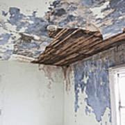Deteriorating Ceiling In An Abandoned House Art Print