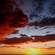 Developing Storm At Sunset Art Print