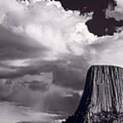 Devils Tower Wyoming Bw Art Print