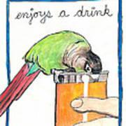Dexter Enjoys A Drink Art Print