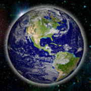 Digitally Generated Image Of Planet Earth Art Print