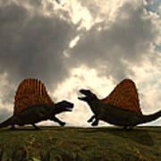 Dimetrodon Fight Over Territory Art Print