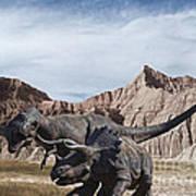 Dino's In The Badlands Art Print
