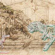 Dinosaur Battle Art Print