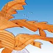 Dinosaur Fish With Bubbles Art Print