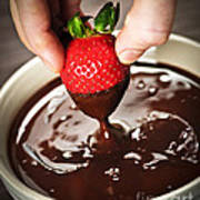 Dipping Strawberry In Chocolate Art Print by Elena Elisseeva