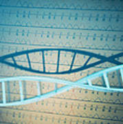 Dna And A Genetic Sequence Art Print