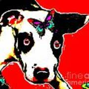Dog And Butterfly Art Print