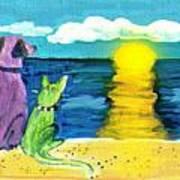 Dog And Cat Sunset Art Print