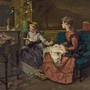 Domestic Scene With Two Girls, One Art Print